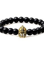 Men's Strand Bracelet Obsidian Vintage Gothic Agate Alloy Circle Jewelry For Gift Going out