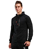 Men's Running Jacket Long Sleeves Thermal / Warm Breathable Hoodie for Running/Jogging Fitness Polyster Black S M L XL XXL