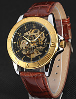 WINNER Men's Dress Watch Wrist watch Mechanical Watch Automatic self-winding Hollow Engraving Leather Band Luxury Vintage Casual Cool
