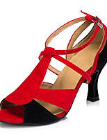 Women's Latin Leather Sandal Sneaker Professional Chunky Heel Red/Black