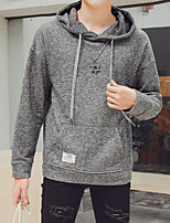cheap -Men's Daily Going out Hoodie Solid Hooded Micro-elastic Polyester Long Sleeves Winter Fall