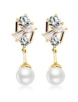 Women's Hoop Earrings Pearl Elegant Pearl Gold Plated Irregular Rose Jewelry For Wedding Daily