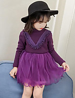 Girl's Casual/Daily Going out Patchwork Dress,Rayon Polyester Fall Winter Long Sleeves