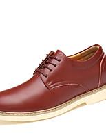 Для мужчин обувь Наппа Leather Весна Осень Удобная обувь Туфли на шнуровке Назначение Повседневные Черный Темно-русый Темно-коричневый