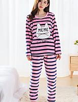 Nuisette & Culottes Pyjamas Femme,Imprimé Fleurs Polyester Rose Claire