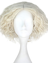 cheap -Men Adult Short Kinky Curly Hair Unisex Creamy White Color Wig Movie Role Play Hair Cosplay Wigs Halloween
