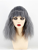 Women Synthetic Wig Capless Medium Length Water Wave Grey Middle Part Natural Wigs Costume Wig