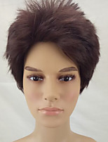 Men Synthetic Wig Capless Short Curly Brown/Burgundy Layered Haircut Natural Wigs Costume Wig