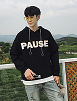 cheap -Men's Daily Going out Hoodie Print Letter Hooded Micro-elastic Polyester Long Sleeves Winter Fall