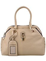 cheap -Women Bags PU Tote Buttons Zipper for Casual Office & Career All Season Beige
