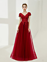 A-Line V-neck Floor Length Tulle Prom Formal Evening Dress with Laces by SG