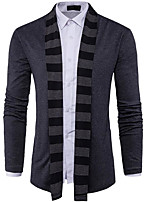 cheap -Men's Daily Regular Cardigan,Solid Round Neck Long Sleeves Cotton Medium Micro-elastic