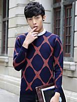Для мужчин На каждый день Обычный Пуловер С принтом,V-образный вырез Длинный рукав Хлопок Весна/осень Средняя Слабоэластичная