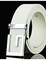 cheap -Unisex Leather Waist Belt,White Vintage Casual Solid Color Vintage Style