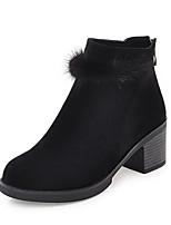 abordables -Femme Chaussures Similicuir Hiver Bottes Cavalières Bottes à la Mode Bottes Talon Cône Bout rond Bottine/Demi Botte Pour Décontracté Noir