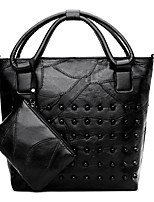 cheap -Women Bags PU Tote Beading Zipper for Formal Outdoor All Season Black