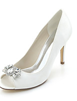 Women's Shoes Satin Spring Summer Toe Ring Basic Pump Wedding Shoes Stiletto Heel Peep Toe Rhinestone For Wedding Party & Evening Ivory