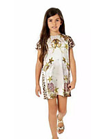 cheap -Girl's Birthday Holiday Solid Leopard printing Dress,Cotton Polyester Short Sleeves Cute Casual Princess White