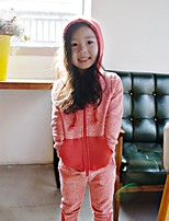 Girls' Solid Patchwork Sets,Cotton Fall Winter Long Sleeves Clothing Set