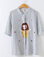 abordables -Mujer Bonito Ropa Cotidiana Camisa,Cuello Camisero Estampado Media Manga Algodón