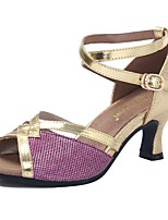 Women's Latin Paillette Leatherette Sandal Outdoor Chunky Heel Purple Silver Black Gold
