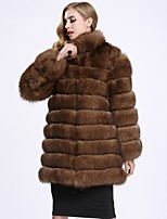 BF-Fur Style Women's Going out Simple Winter Fur Coat,Solid V Neck Long Sleeves Regular Fox Fur