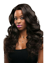 cheap -Women Human Hair Lace Wig Chinese Remy Lace Front Glueless Lace Front 130% Density With Baby Hair Body Wave Wig Black Black Medium Length