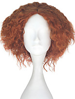 Men Adult Short Kinky Curly Hair Unisex Dark Orange Color Wig Movie Role Play Hair Cosplay Wigs Halloween