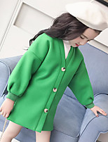Girls' Solid Down & Cotton Padded,Polyester Long Sleeves Green Orange Yellow