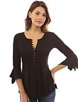 Недорогие -Для женщин На выход На каждый день Все сезоны Блуза V-образный вырез,Уличный стиль Панк & Готика Однотонный Хлопок Акрил,Средняя