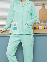 Costumes Pyjamas Femme,Animaux Coton Polyester Rose Claire Bleu clair