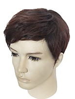 cheap -Top Quality Men's Wig Synthetic Fiber Wig Black Straight Capless Cool Fashion Natural Wigs