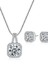 Women's Drop Earrings Pendant Necklaces Cubic Zirconia Rhinestone Vintage Elegant Wedding Evening Party Silver Cubic Zirconia