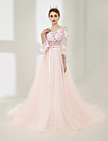 A-Line Off-the-shoulder Sweep / Brush Train Tulle Formal Evening Dress with Laces by SG