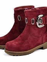 cheap -Girls' Shoes Flocking Winter Fall Combat Boots Boots Mid-Calf Boots for Casual Wine