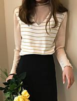 Women's Daily Cute Tank Top,Striped V Neck Sleeveless Cotton Acrylic