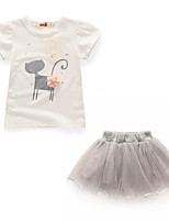 Girls' Solid Floral Cat Clothing Set,Cotton Polyester Summer Short Sleeves White Blushing Pink
