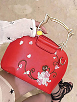 cheap -Women Bags PU Tote Buttons for Casual All Season White Black Red Blushing Pink
