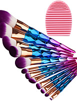12 pcs Makeup Brush Set Synthetic Hair Eco-friendly Professional Full Coverage Plastic Eye Face Nose
