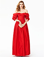 A-Line Princess Off-the-shoulder Floor Length Satin Formal Evening Dress with Pleats by TS Couture®