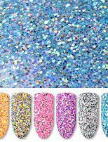 6 Bottles/Set 40g Round Nail Art Glitter Sequins 6 Colors Mixed Nail Glitter Powder Women Nail Decoration Manicure Tools