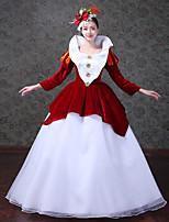 Rétro Rococo Victorien Costume Féminin Adulte Une Pièce Robes Costume de Soirée Bal Masqué Rouge Vintage Cosplay Satin/ Tulle Tulle