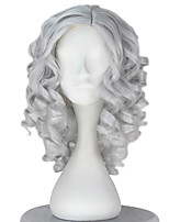 cheap -Synthetic Girl Short Curly Sliver Gray Color Wig Role play movie Cosplay Costume Wigs Adult Halloween hair