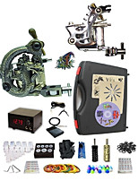 cheap -Basekey Pro Tattoo Kit Gemini 2 Machines With Power Supply Grips Cleaning Brush  Needles