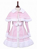 cheap -Winter Sweet Lolita Cape Coat Princess Wool Women's Adults' Girls' Coat Cosplay Pink Long Sleeves
