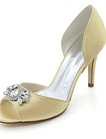cheap -Women's Shoes Satin Spring Summer Basic Pump Wedding Shoes Stiletto Heel Peep Toe Rhinestone For Wedding Party & Evening Ivory Champagne