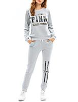 Mujer Simple Deporte Casual/Diario Primavera/Otoño Todas las Temporadas Camiseta Pantalón Trajes,Escote Redondo Un Color Manga Larga