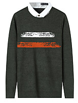 Men's Daily Wear Holiday Casual Regular Pullover,Solid Print Round Neck Long Sleeves Spandex Fall Thick Micro-elastic