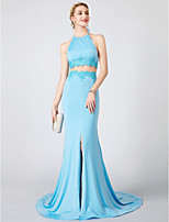 Mermaid / Trumpet Two Piece Halter Sweep / Brush Train Jersey Formal Evening Dress with Appliques Split Front by TS Couture®