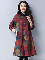 cheap -Women's Sports & Outdoor Daily Vintage Casual Street chic Chinoiserie Loose Shift Tunic Dress,Floral Color Block Vintage Round Neck Midi